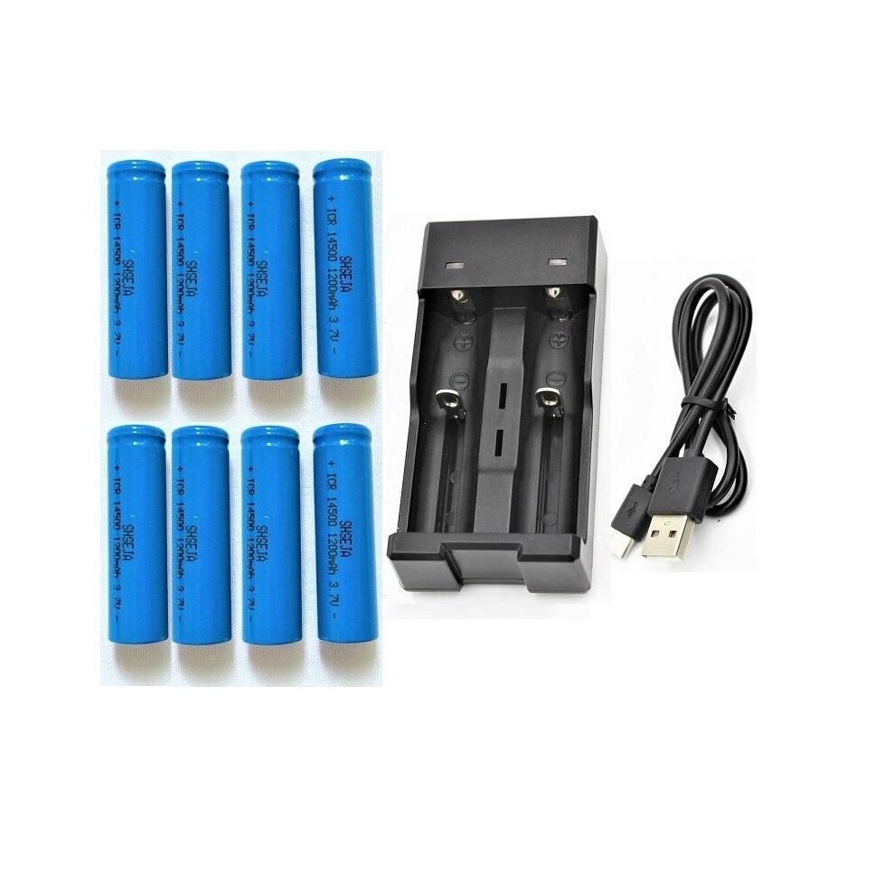 8 PCS ICR14500 1200 mAh 3.7 v rechargeable li ion Batteries led lampe de poche Plat + 3.7 V 14500 18650 USB batterie Chargeur