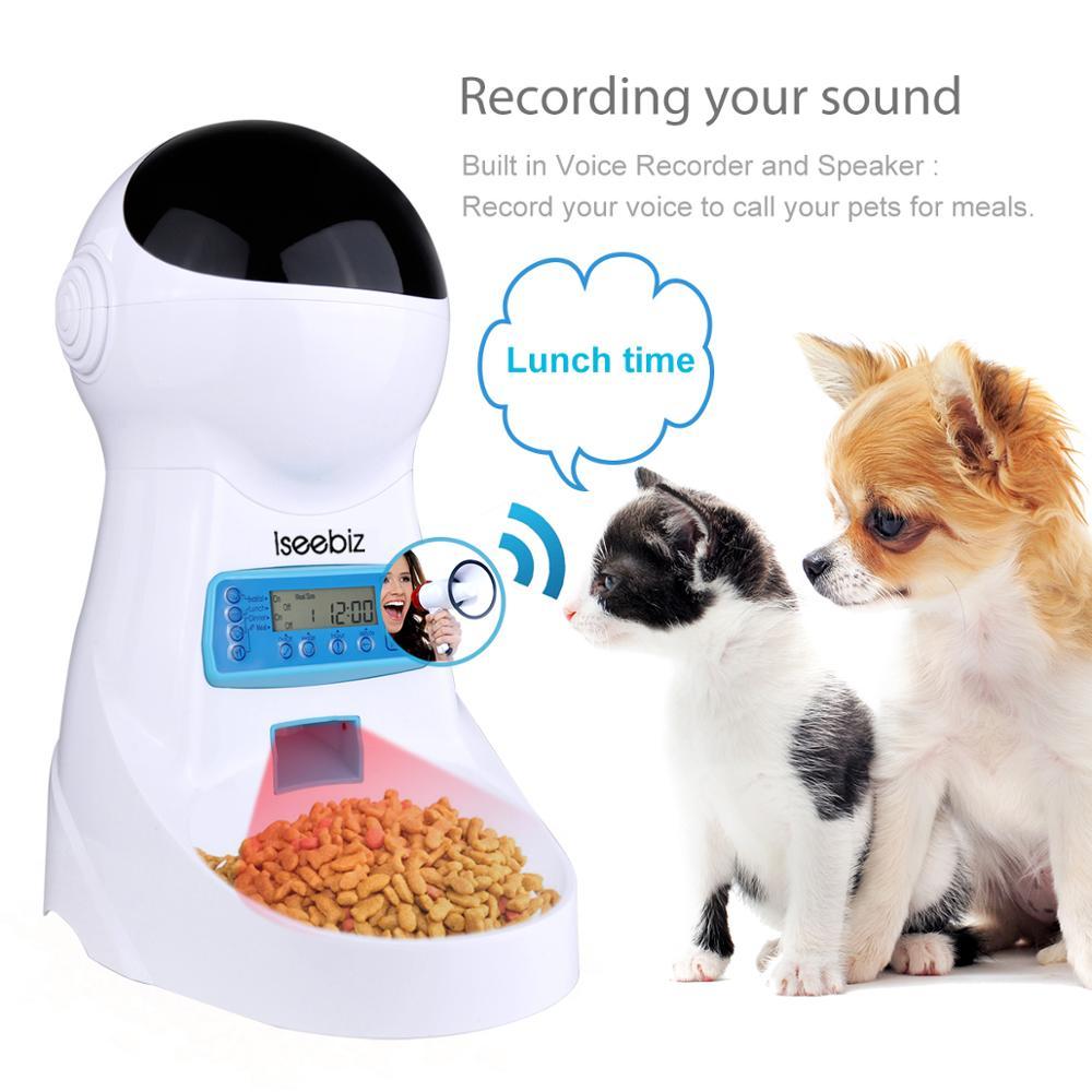 Iseebiz 3L Automático Comedouro Para Animais de Estimação Com a Gravação De Voz Pet Tigela de comida Para Gato Cão Médio Tela LCD Dispensadores 4 vezes Um Dia