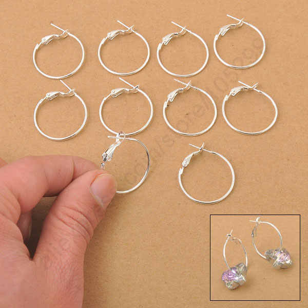 Fast Free Shipping 100PCS 25MM 925 Sterling Silver Hoop Drop   Earrings Women DIY Jewelry Findings High Quality