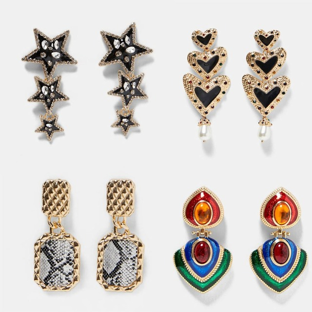Best lady Fashion ZA Resin Drop Earring For Women Wedding Jewelry Boho Elegant Shiny Dangle Statement Earrings Christmas Gifts 2