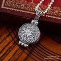 Черный серебро 925 серебро ювелирные изделия ретро узор gawu коробка кулон 047998 Вт