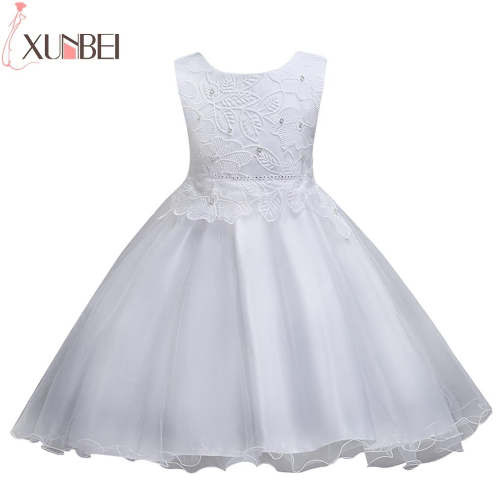 Lovely O Neck Ball Gown Flower Girl Dresses Bow Belt Sleeveless Vestido Daminha Appliques Beaded For Weddings Evening Party