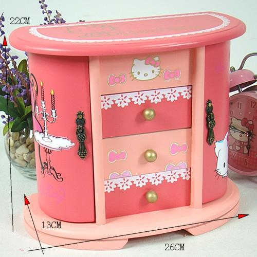 Japanese Hello Kitty Makeup organizer jewelry box casket girl gift