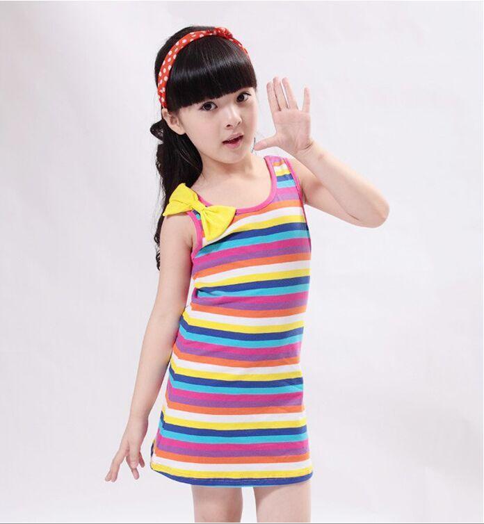 2017 niños coreanos vestidos para niñas vestido arco iris bowknot - Ropa de ninos