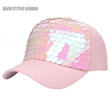 Baseball Cap FGor Women Pink Fish-Scale Sequins Hats Casual Snapback Hat For Girl Casquette Hats Bone Hip Hop Summer Fashionable цена 2017