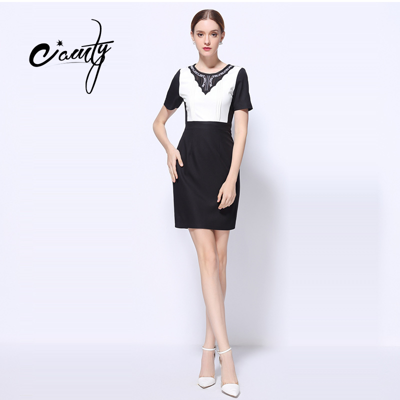 c5fefe6ae35 CAMTY Fashion Patchwork Lace Embroidery Pencil Dress Women Short Sleeve  Sheath Empire Black And White Dresses costume w CAMTY Fashion Patchwork  Lace ...