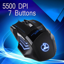 2016 Hot Sale 5500 DPI 7 Buttons Wired LED Optical USB Computer Gaming Mouse Mice For Pro Mouse Gamer