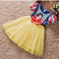 D.S Newest Summer Girl's O Neck Short Sleeve Big Bow Gauze Swing Party Princess Wedding Dresses Kids Dress Children Dress 2 8T