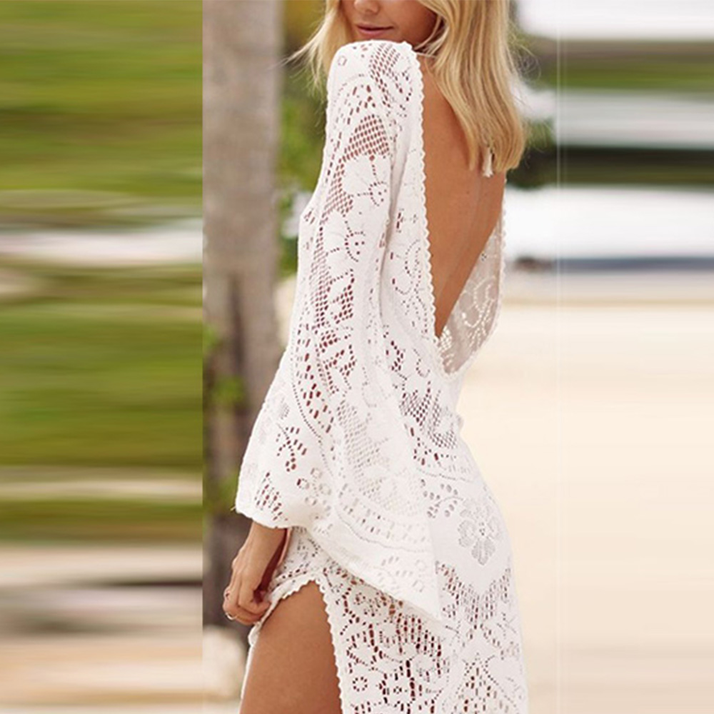 NEW 2018 Summer dress for Women Sexy Long Flare Sleeve Hollowed Backless white Split Dress beachwear long maix dress vestidos