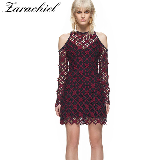Self Portrait Burgundy Lace Dress Autumn Women Cold Cut Out Shoulder  Overlay Flower Embroidery Long Sleeve Hollow Out Sexy Dress f0e585d5b
