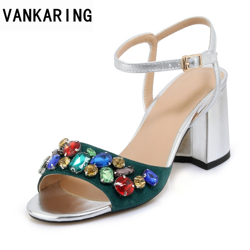 VANKARING women new fashion summer sandals shoes sexy high heels peep toe rhinestone shoes woman dress party gladiator sandals marlong women sandals summer new candy color women shoes peep toe stappy beach valentine rainbow jelly shoes woman