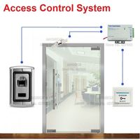 Metal Fingerprint Single Door Access Control System for Frameless Glass Door Electric Strike Lock +Power Supply+Switch