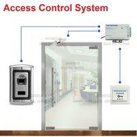 Metal Fingerprint Single Door Access Control System for Frameless Glass Door Electric Strike Lock +Power Supply+Switch