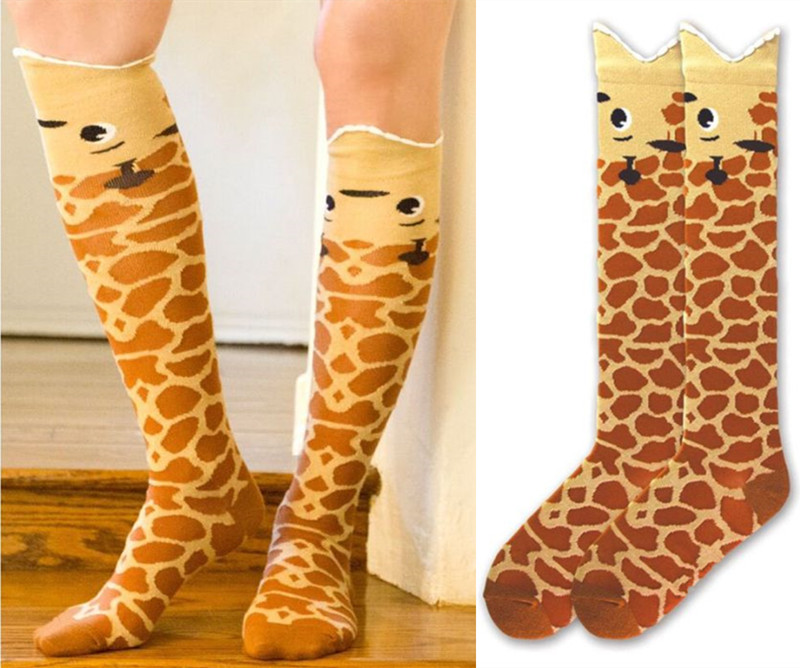 Women's Giraffe Knee Length Socks USA Size 5-10,Europe Size 35-42