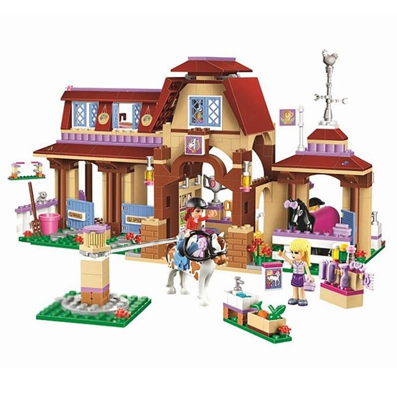Друзья серии heartlake Клуб верховой езды DIY Рисунок Building Block Модель набора кирпичи Игрушечные лошадки для детей подарок для девочек 41126 Бела 10562