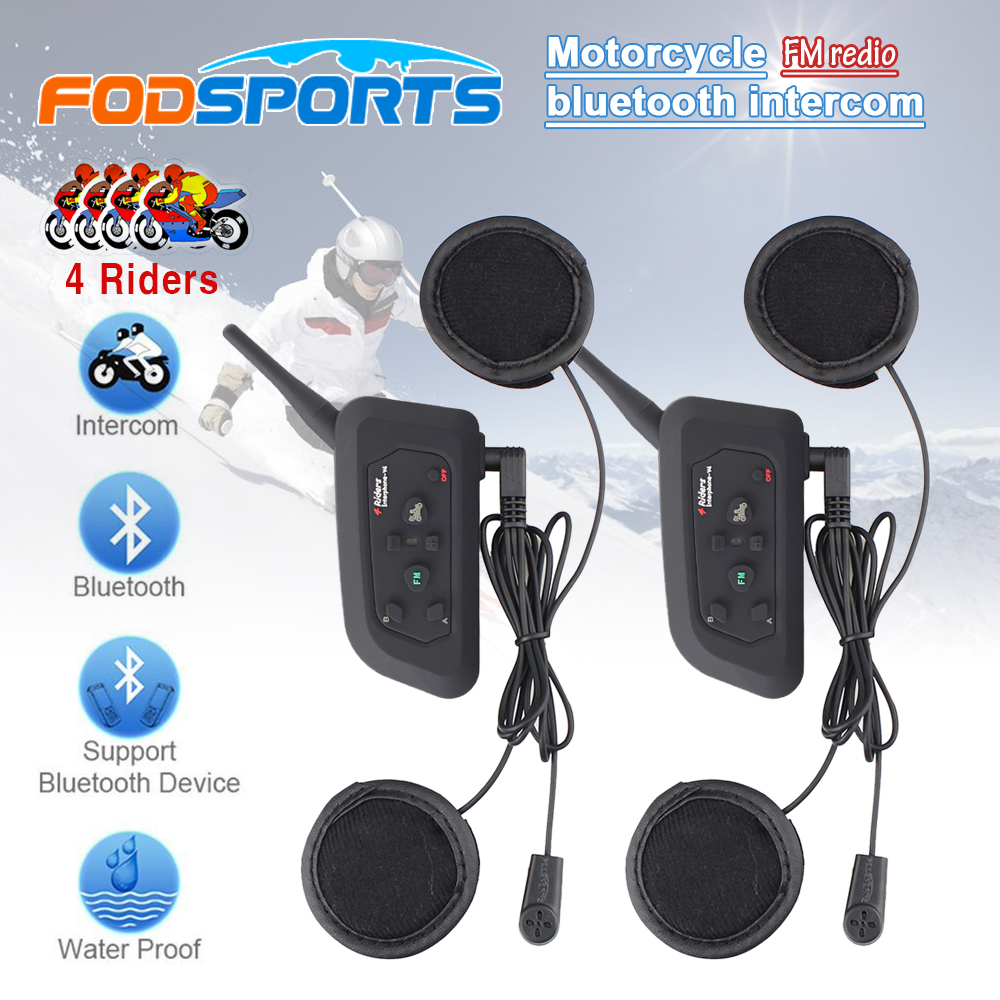 Soft Earphone! 2 Pcs V4 BT Motorcycle Helmet Bluetooth Intercom Headset For 4 Riders 1200m Wireless Interphone With FM Radio