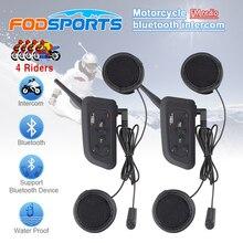 цена на 2016 updated soft Earphone! 2 pcs V4 Motorcycle Helmet Bluetooth Intercom Headset with FM for 4 Riders 1200m Wireless Interphone