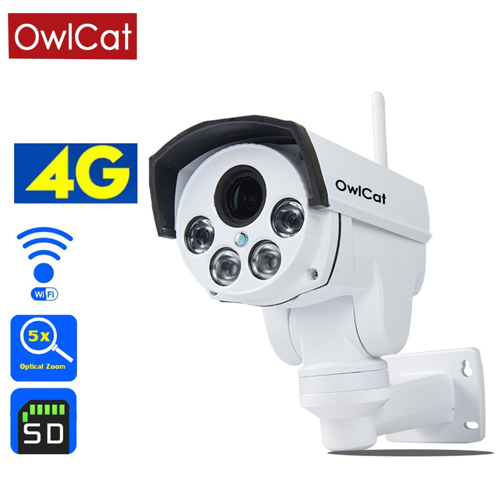 Owlcat 4g IP caméra Sim Carte WiFi CCTV caméra PTZ HD 1080 p 960 p 5X Optique Zoom Auto security Focus Vidéo Surveillance Caméra