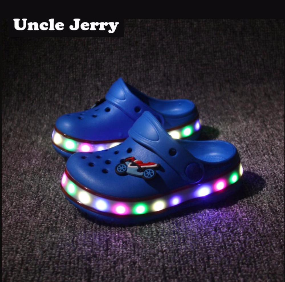 UncleJerry Kids Led Sandals Light Up Children Summer Shoes Glowing Slippers For Boys And Girls Flashing Beach Shoes For Toddler