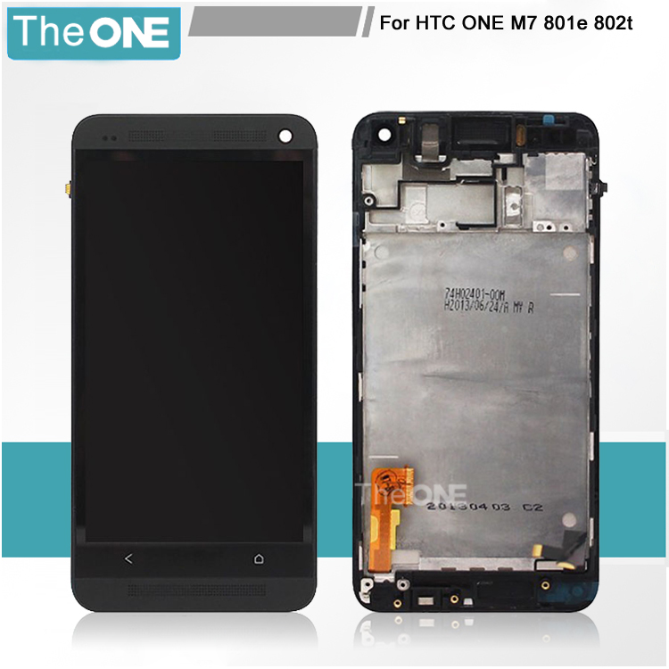 Free DHL Shipping LCD For HTC one M7 lcd Display And Touch Screen Digitizer With Frame Black/White/Silver/Blue Color 1 pcs for iphone 4s lcd display touch screen digitizer glass frame white black color free shipping free tools