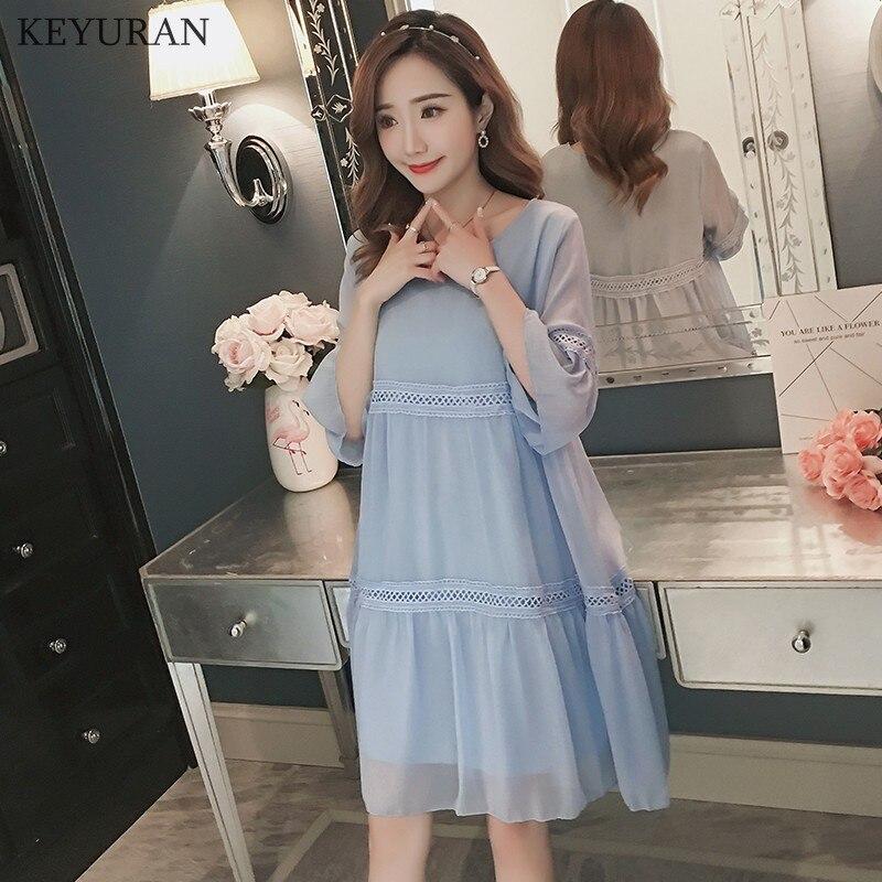 Summer New Sweet Chiffon Patchwork Maternity Nursing Dress Korean Fashion Breastfeeding Clothes for Pregnant Women Pregnancy 230