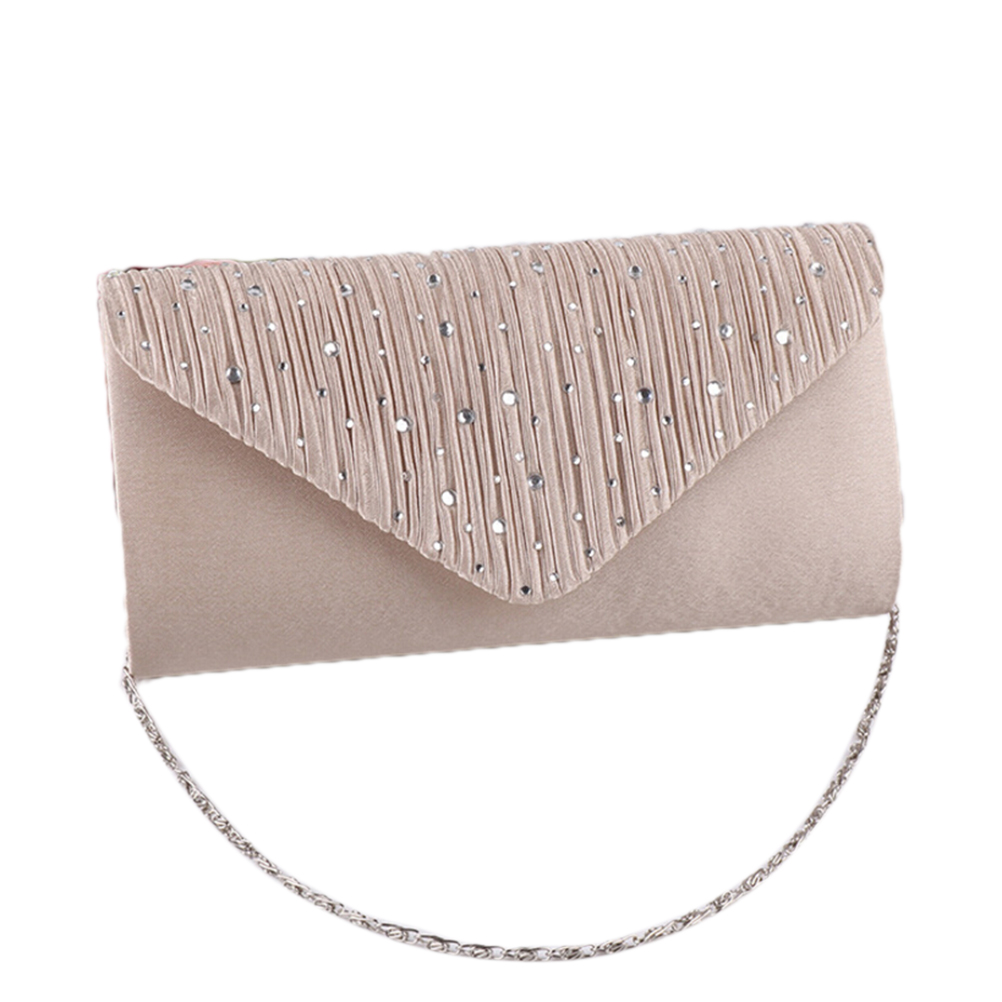 Women Bag High-end European American Style With Diamond Tiled Dinner Bag Handbag (Apricot Color)