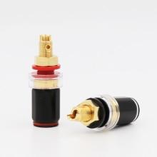 Hi End Ses P008G Altın Kaplama 4 MM Muz Fiş Terminali Bağlama Sonrası Hoparlör Amplifikatör için Yüksek Kaliteli Kırmızı ve siyah