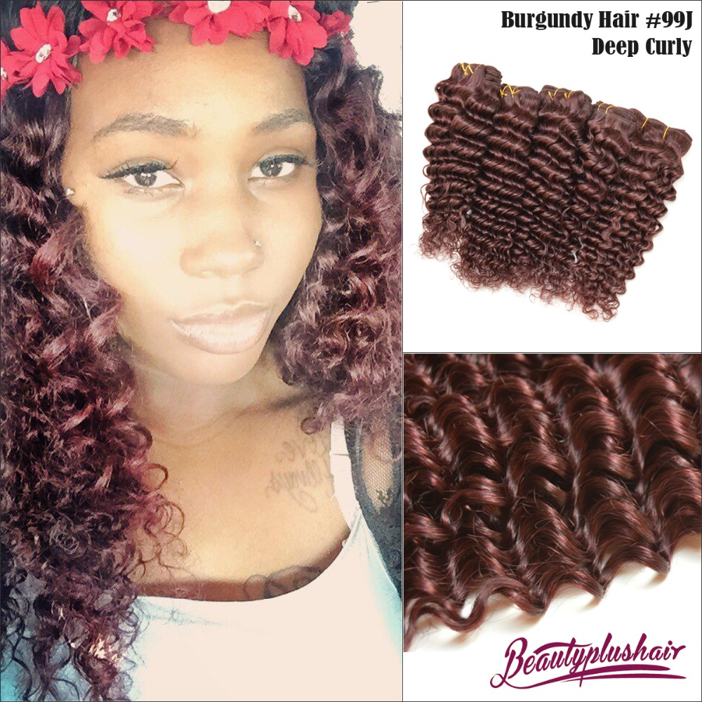 Hair extension color chart picture more detailed picture about 7a red 99j brazilian remy hair deep curly hair extensions 3 pcslot kinky curly pmusecretfo Image collections