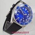 Повседневные мужские часы с синим циферблатом 40 мм Parnis  светящиеся отметки  сапфировое стекло  регулировка даты  синий керамический ободок  ...