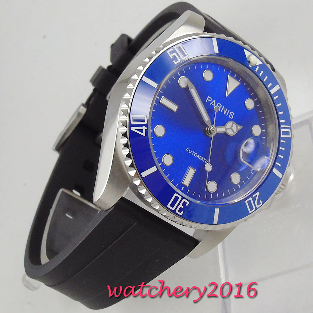 все цены на Casual 40mm Parnis blue dial luminous marks sapphire glass date adjust blue ceramic bezel Automatic movement Men's Watch онлайн