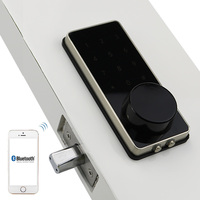Silver Zinc Alloy Home Smart Bluetooth Electronic Touch Screen Code Password Lock Deadbolt Door Lock Unlock by App Code Key