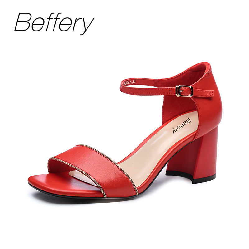 цена на Beffery Summer Sandals women Genuine Leather High heel shoes for Women Sandals chaussures femme ete 2018