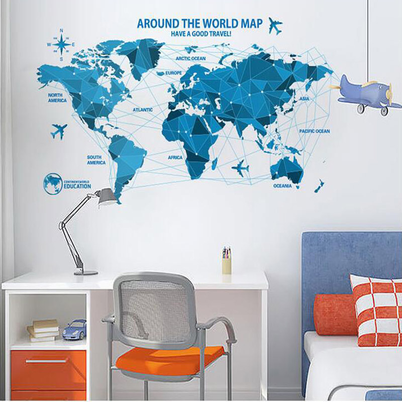 New arrival 10055cm low poly blue world map removable vinyl wall new arrival 10055cm low poly blue world map removable vinyl wall stickers for living study room office decoration pvc decals in wall stickers from home gumiabroncs Image collections