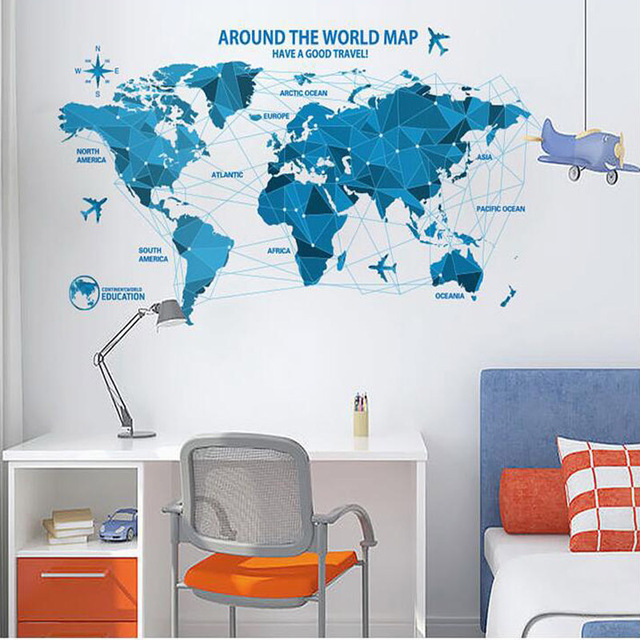 New arrival 10055cm low poly blue world map removable vinyl wall new arrival 10055cm low poly blue world map removable vinyl wall stickers for living gumiabroncs Choice Image