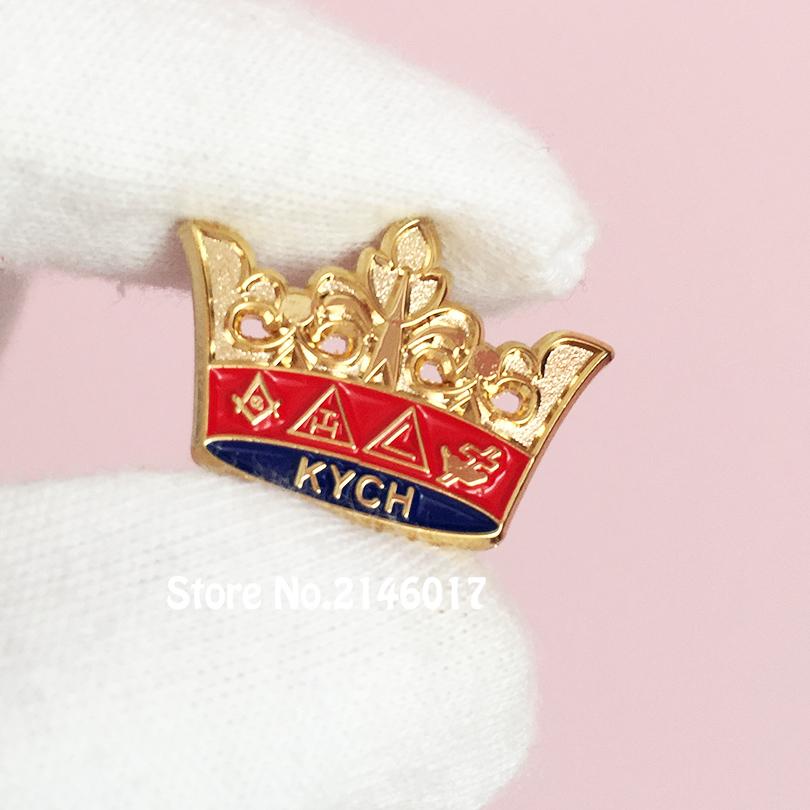 a0a3bcbb 50pcs Custom Pins Masonic KYCH Knight Commander Court of Honor Lapel Pin Freemasonry  Masons Crown Souvenir