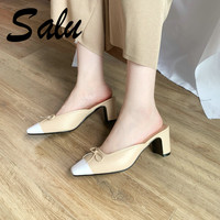 Salu 2019 Woman Sandals High Quality Black White Cow Leather Wedding Shoes Elegant Pointed Toe Buckle Lady Footwear