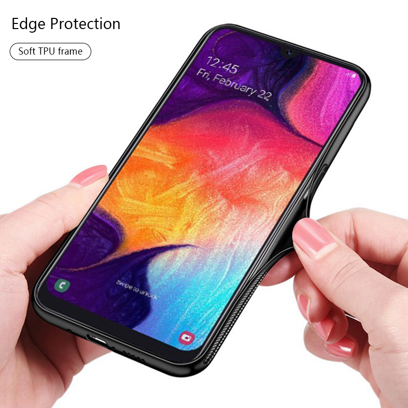 Glass Case on For Samsung A50 Case Glossy Tempered Glass Silicone Frame Hard Back Cover For Samsung Galaxy A30 Glass Case Fundas in Phone Screen Protectors from Cellphones Telecommunications