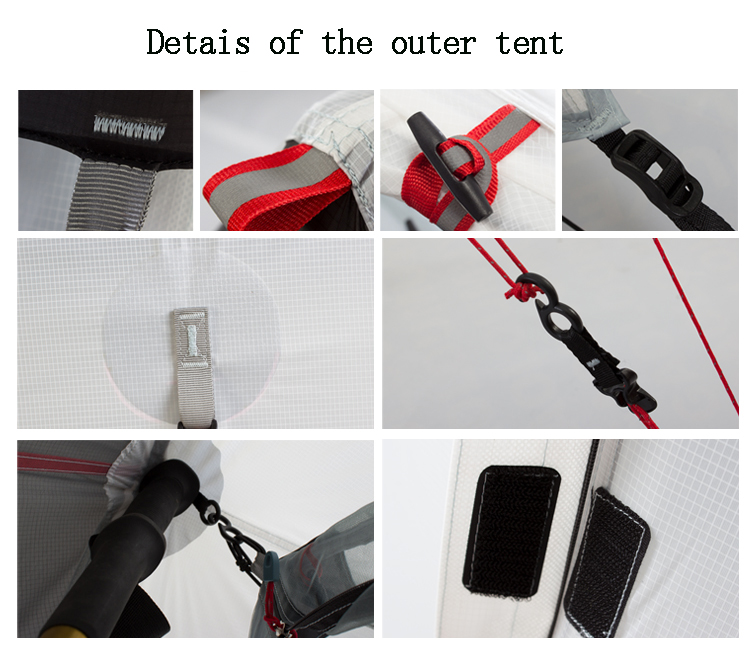 2017 New Design 3F UL GEAR 2 People Oudoor Ultralight Camping Tent Professional 15D Nylon Silicon Coating Rodless Tent