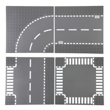 TUKATO Road Baseplate Straight Crossroad Street View Road Baseplate Building Blocks Parts Brick Compatible Small Blocks For Kids