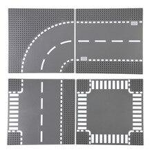 TUKATO Straße Grundplatte Gerade Kreuzung Street View Road Grundplatte Bausteine Teile Ziegel Kompatibel Kleine Blöcke Für Kinder