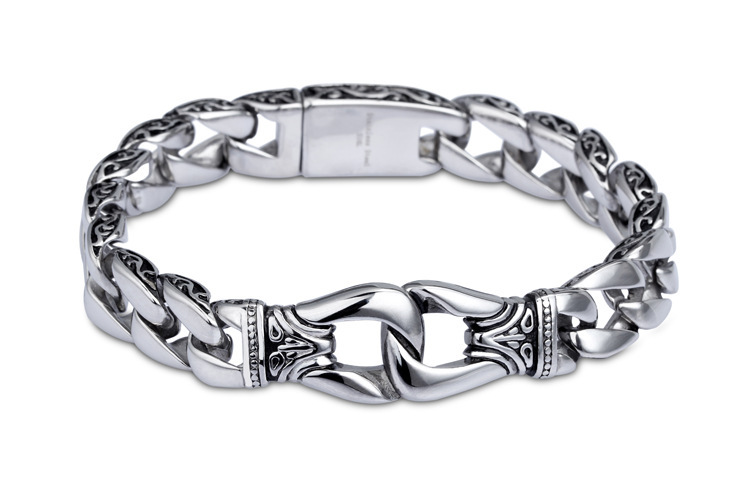 Mens Bracelet 316L Stainless Steel Silver Color Curved Curb Link Chain Bracelets for Men Davieslee Wholesale Jewelry 15mm