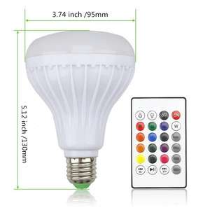 Image 5 - DZLST Bluetooth Speaker Smart LED Bulb E27 RGB Light 12W Music Playing Dimmable Wireless Led Lamp with 24 Keys Remote Control