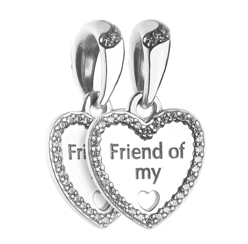 New 925 Sterling Silver Bead Charm Friend Of My Heart With Crystal Pendant Beads Fit Pandora Bracelet Bangle Diy Jewelry