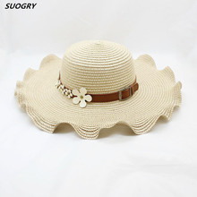 Summer Hat For Women 2018 Straw Woven Large Brim Sun Hat Female Summer Sun Flowers Wavy  Floppy Beach Hat Travel stylish lace up embellished wavy edge round top felt floppy hat for women