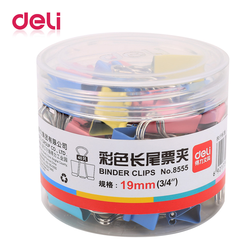 Deli 40pcs/barrel Colored Binder Clip Small Size 5# 19mm Binder Clips For Office File School Stationery Supplies Price Cheap