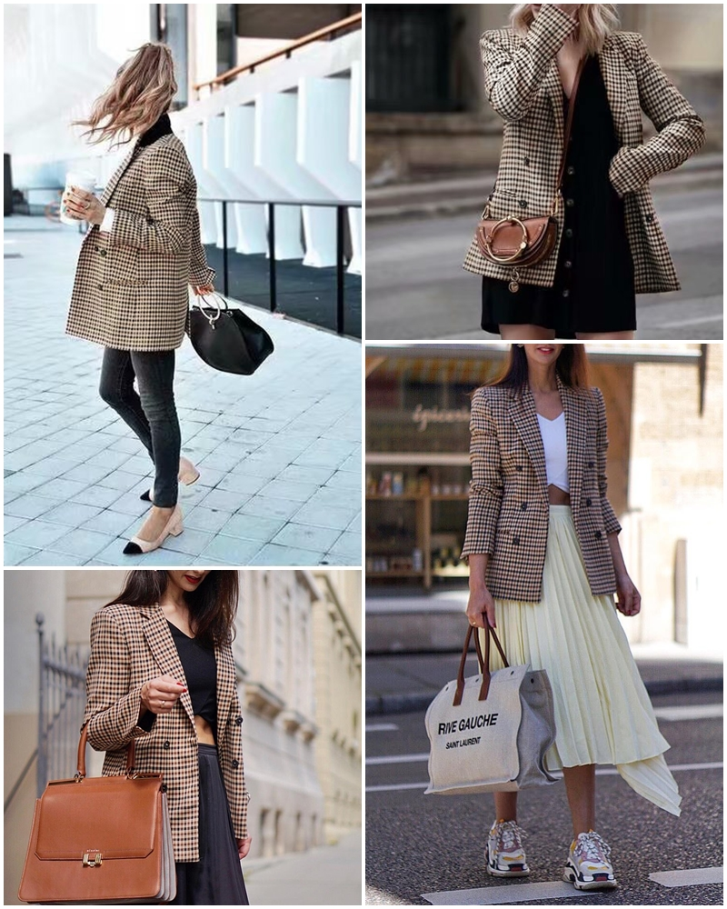 Simplee Fashion double breasted plaid blazer Female long sleeve office ladies blazer 18 Autumn jacket women outerwear coats 4