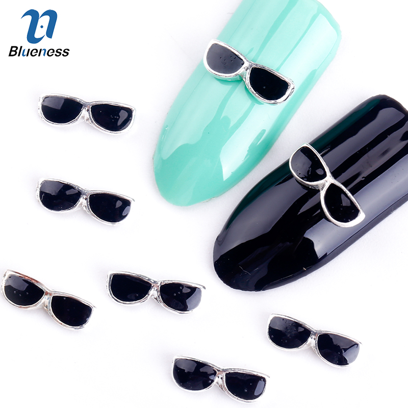 Blueness 10Pcs/Pack New 2015 Whole Black Sunglasses Rhinestone 3D Nail Art Decorations DIY Alloy Nails Tools Top Nail TN1031 e cap aluminum 16v 22 2200uf electrolytic capacitors pack for diy project white 9 x 10 pcs