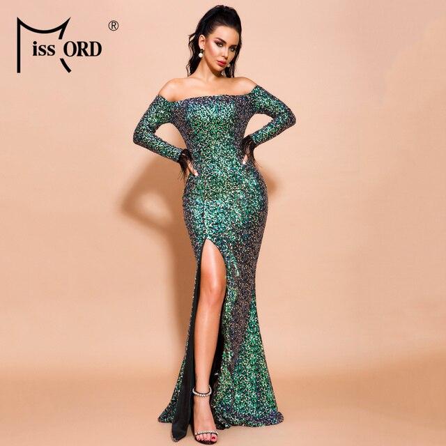 Missord 2019 Women Sexy Off Shoulder Slash Neck Long Sleeve High Split Dresses Female Sequin Backless Maxi Dress  FT19603 1