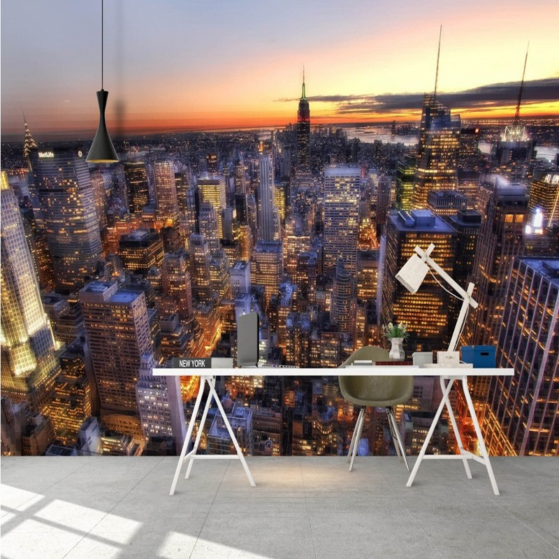 photo wallpaper Beautiful City night view TV background wallpaper living room restaurant shopping mall corridor mural