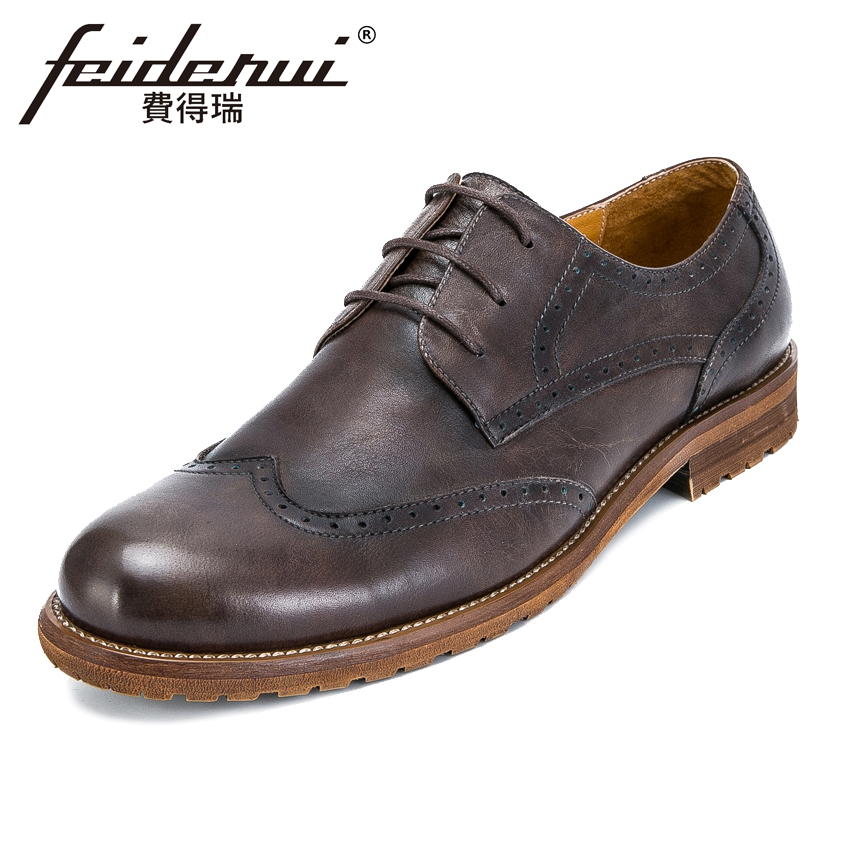 Fashion Genuine Leather Men's Handmade Footwear Round Toe Lace-up Man Party Flats British Designer Wingtip Brogue Shoes KUD89 plus size 32 45 brogue shoes women genuine full grain leather round toe lace up 2018 fashion handmade lady flats wingtip oxfords